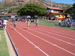 Running track and competitors